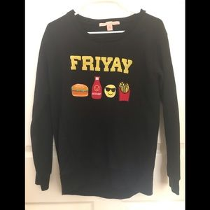 Rebellious One Friyay Black Sweater Sz Small